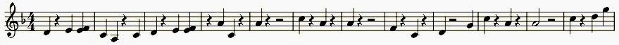Noten der Hauptmelodie zum Tafelrundensong